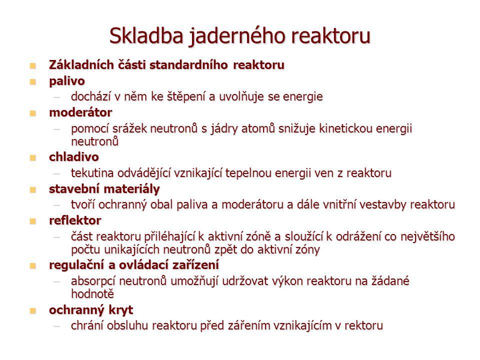 Klasifikace jaderných reaktorů (I) lze klasifikovat podle řady hledisek: podle způsobu využití podle způsobu využití –školní účely, výzkum, výroba radioisotopů, pohon lodí, výroba energie pro účely energetické a teplárenské, pro chemickou výrobu,...