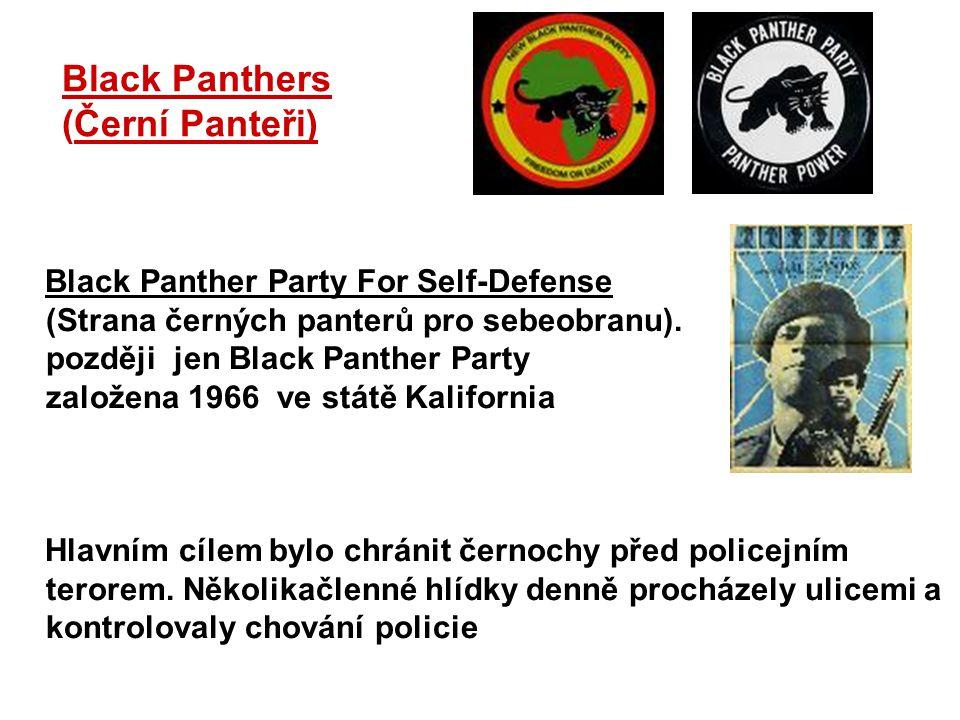 Black Panthers (Černí Panteři) Black Panther Party For Self-Defense (Strana černých panterů pro sebeobranu). později jen Black Panther Party založena