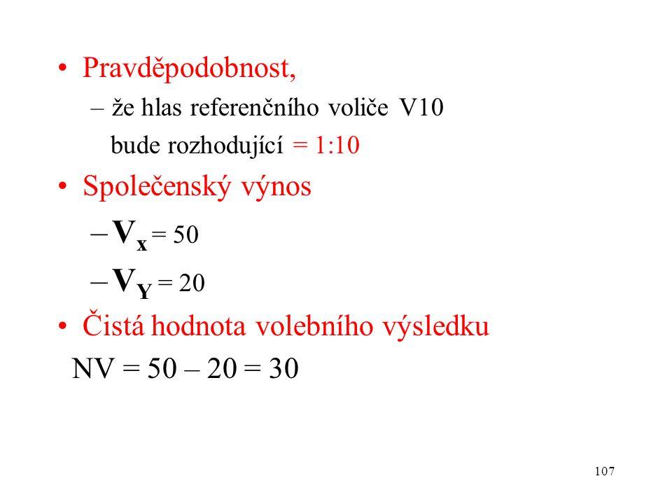 107 Pravděpodobnost, –že hlas referenčního voliče V10 bude rozhodující = 1:10 Společenský výnos –V x = 50 –V Y = 20 Čistá hodnota volebního výsledku N