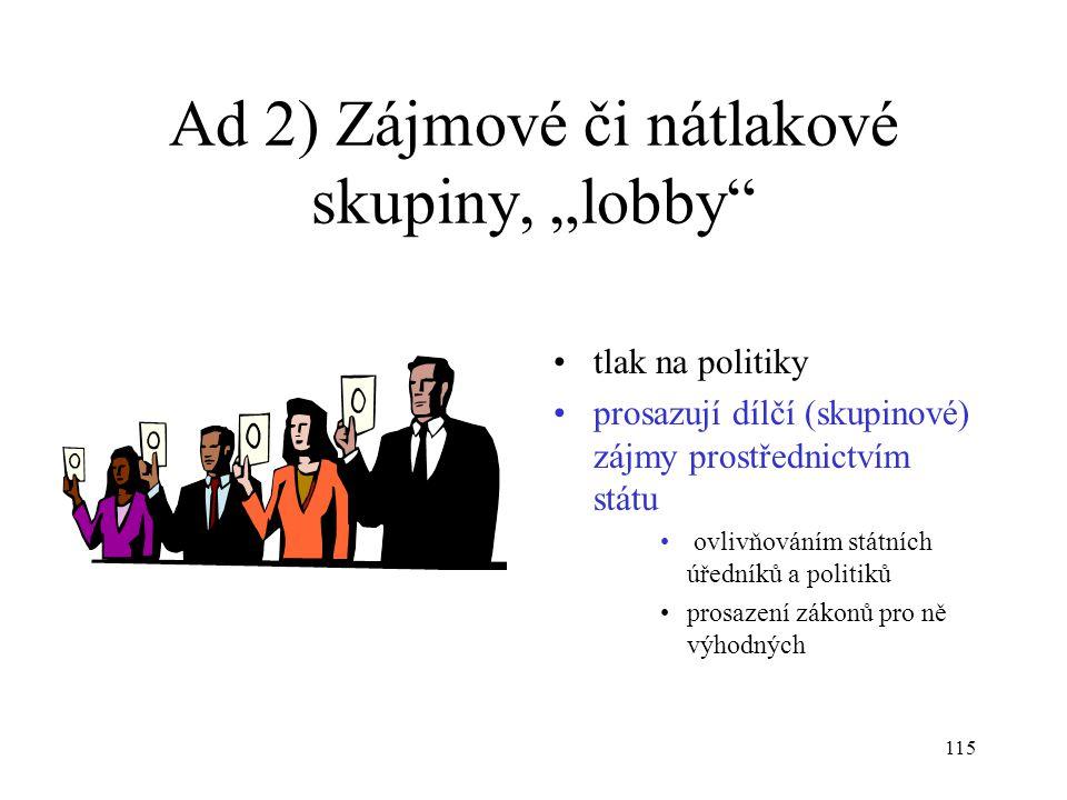 """115 Ad 2) Zájmové či nátlakové skupiny, """"lobby"""" tlak na politiky prosazují dílčí (skupinové) zájmy prostřednictvím státu ovlivňováním státních úředník"""