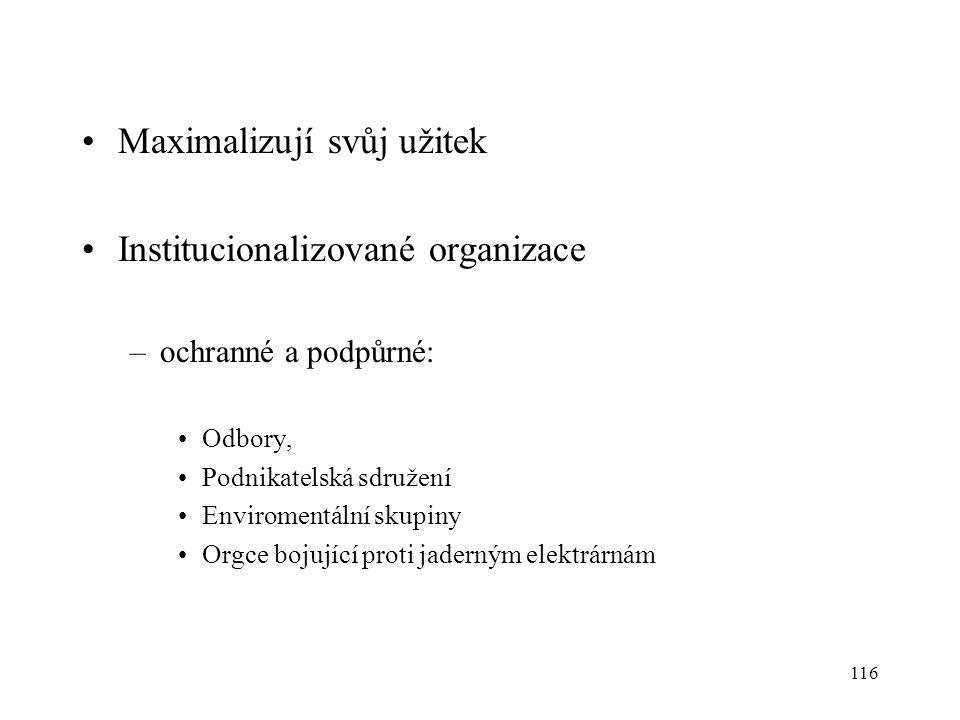 116 Maximalizují svůj užitek Institucionalizované organizace –ochranné a podpůrné: Odbory, Podnikatelská sdružení Enviromentální skupiny Orgce bojujíc