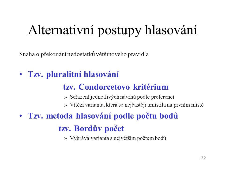 132 Alternativní postupy hlasování Snaha o překonání nedostatků většinového pravidla Tzv. pluralitní hlasování tzv. Condorcetovo kritérium »Seřazení j