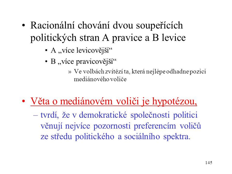 """145 Racionální chování dvou soupeřících politických stran A pravice a B levice A """"více levicovější"""" B """"více pravicovější"""" »Ve volbách zvítězí ta, kter"""
