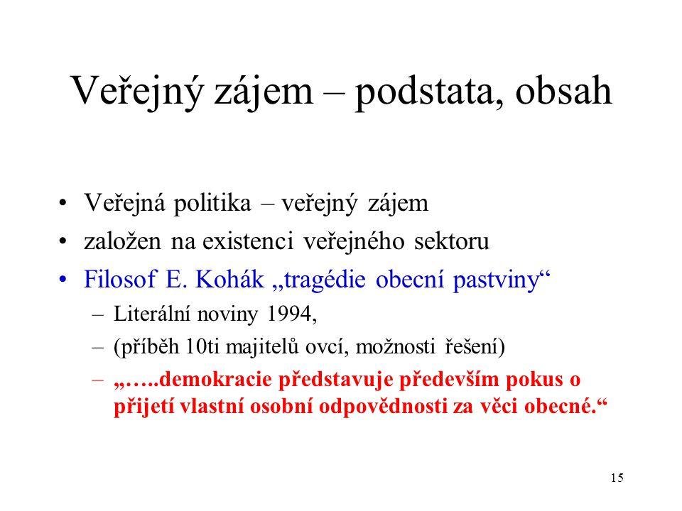"""15 Veřejný zájem – podstata, obsah Veřejná politika – veřejný zájem založen na existenci veřejného sektoru Filosof E. Kohák """"tragédie obecní pastviny"""""""