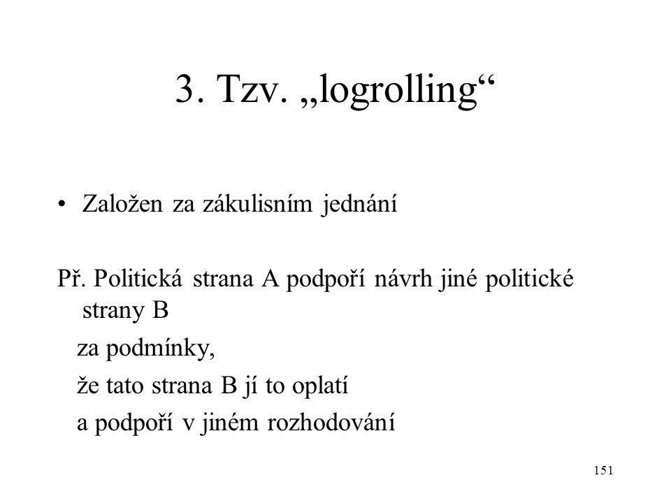 """151 3. Tzv. """"logrolling"""" Založen za zákulisním jednání Př. Politická strana A podpoří návrh jiné politické strany B za podmínky, že tato strana B jí t"""