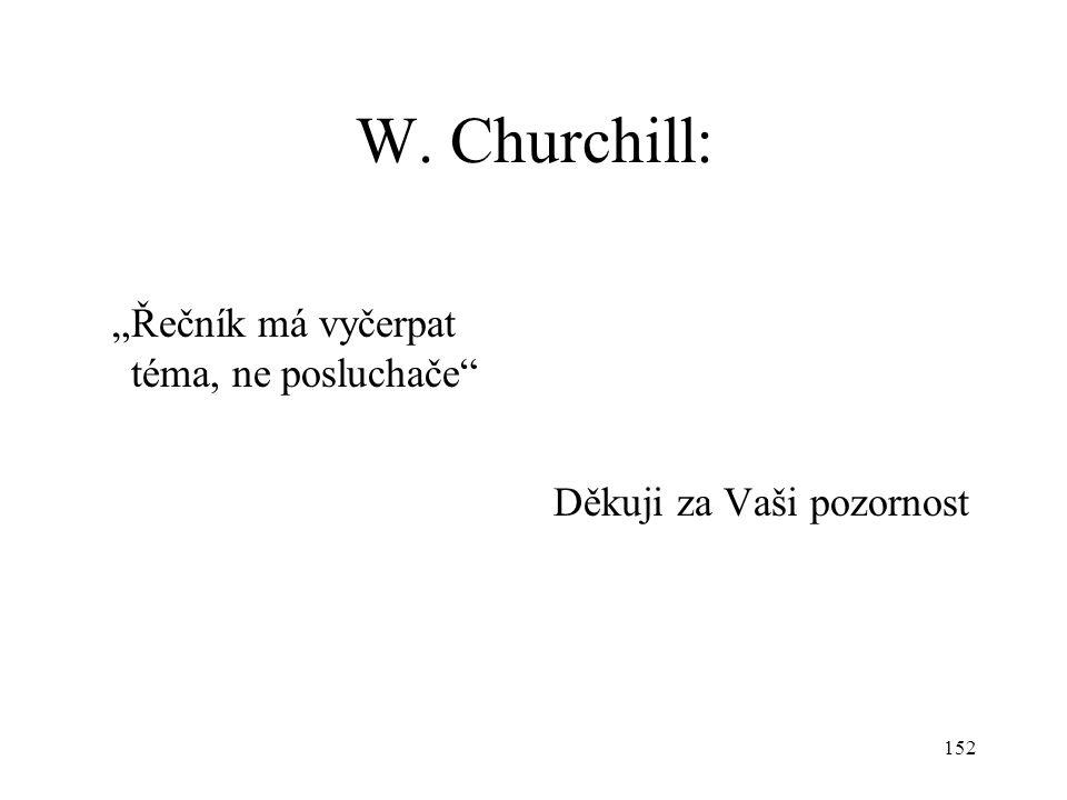 """152 W. Churchill: """"Řečník má vyčerpat téma, ne posluchače"""" Děkuji za Vaši pozornost"""