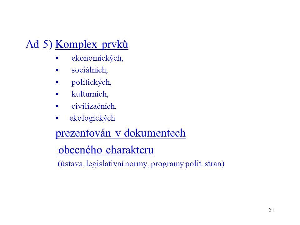 21 Ad 5) Komplex prvků ekonomických, sociálních, politických, kulturních, civilizačních, ekologických prezentován v dokumentech obecného charakteru (ú