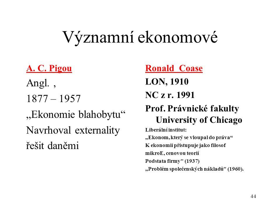 """44 Významní ekonomové A. C. Pigou Angl., 1877 – 1957 """"Ekonomie blahobytu"""" Navrhoval externality řešit daněmi Ronald Coase LON, 1910 NC z r. 1991 Prof."""