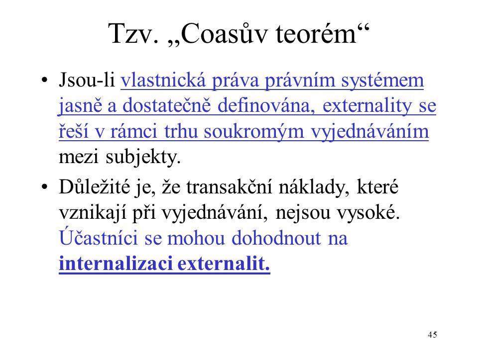"""45 Tzv. """"Coasův teorém"""" Jsou-li vlastnická práva právním systémem jasně a dostatečně definována, externality se řeší v rámci trhu soukromým vyjednáván"""