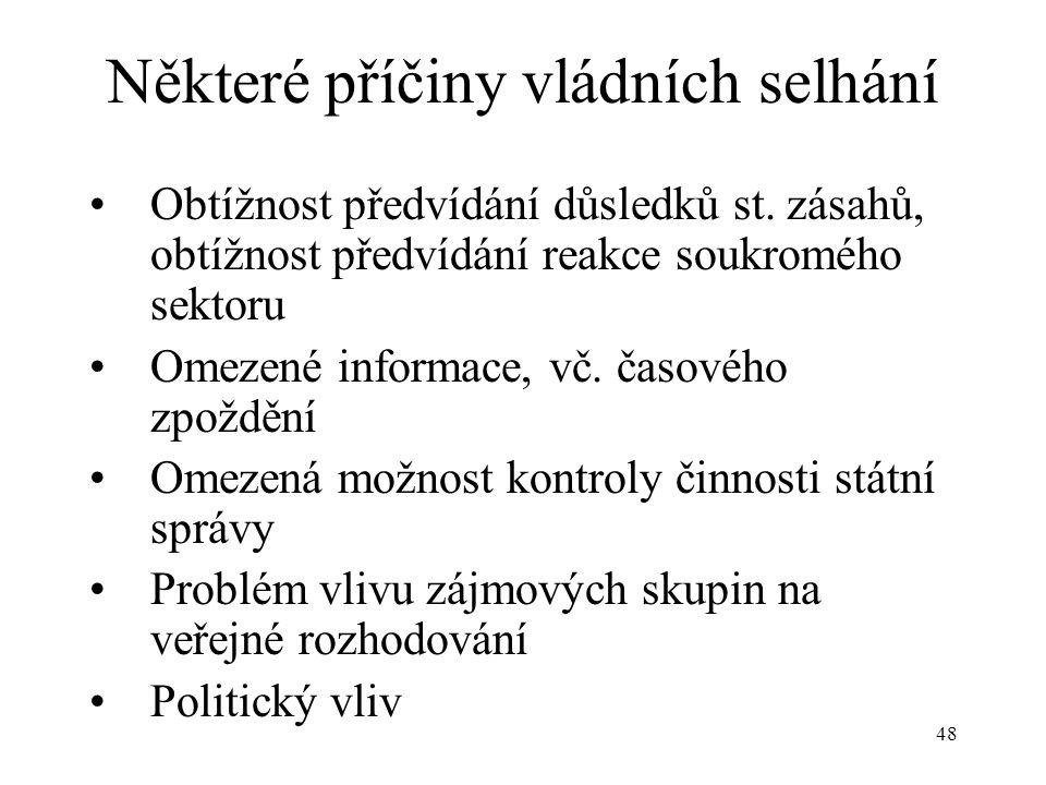 48 Některé příčiny vládních selhání Obtížnost předvídání důsledků st. zásahů, obtížnost předvídání reakce soukromého sektoru Omezené informace, vč. ča