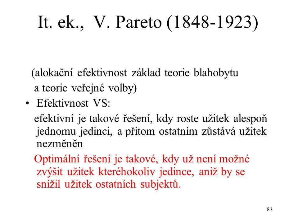 83 It. ek., V. Pareto (1848-1923) (alokační efektivnost základ teorie blahobytu a teorie veřejné volby) Efektivnost VS: efektivní je takové řešení, kd