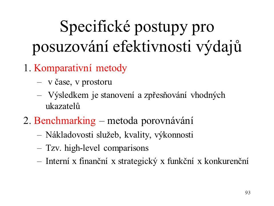 93 Specifické postupy pro posuzování efektivnosti výdajů 1. Komparativní metody – v čase, v prostoru – Výsledkem je stanovení a zpřesňování vhodných u
