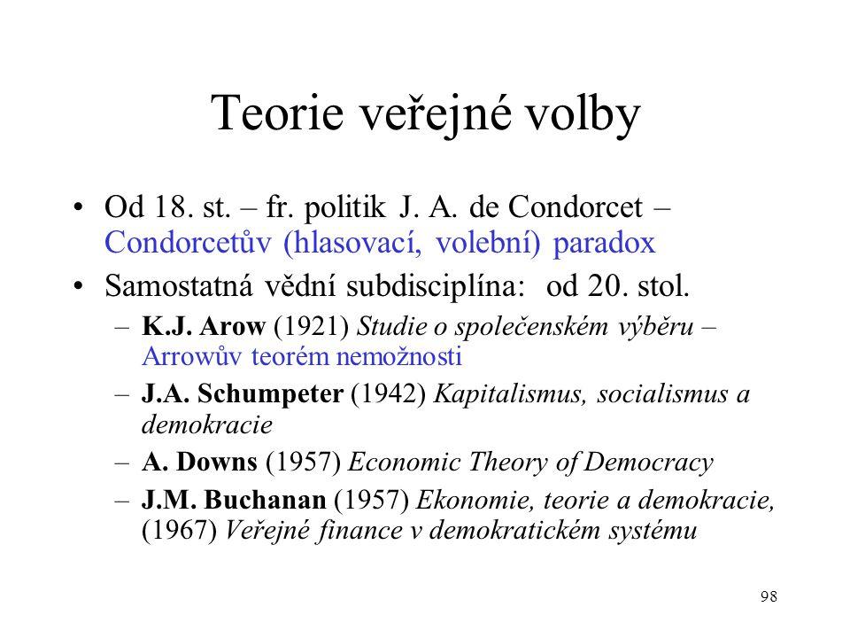 98 Teorie veřejné volby Od 18. st. – fr. politik J. A. de Condorcet – Condorcetův (hlasovací, volební) paradox Samostatná vědní subdisciplína: od 20.