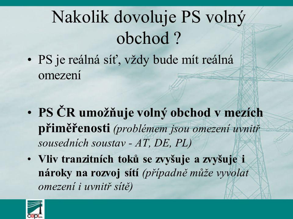 Nakolik dovoluje PS volný obchod ? PS je reálná síť, vždy bude mít reálná omezení PS ČR umožňuje volný obchod v mezích přiměřenosti (problémem jsou om