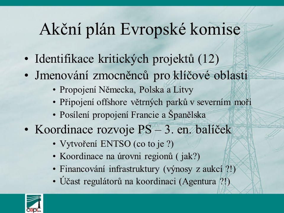 Akční plán Evropské komise Identifikace kritických projektů (12) Jmenování zmocněnců pro klíčové oblasti Propojení Německa, Polska a Litvy Připojení o