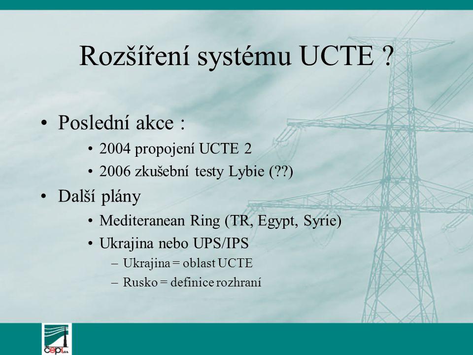 Rozšíření systému UCTE ? Poslední akce : 2004 propojení UCTE 2 2006 zkušební testy Lybie (??) Další plány Mediteranean Ring (TR, Egypt, Syrie) Ukrajin