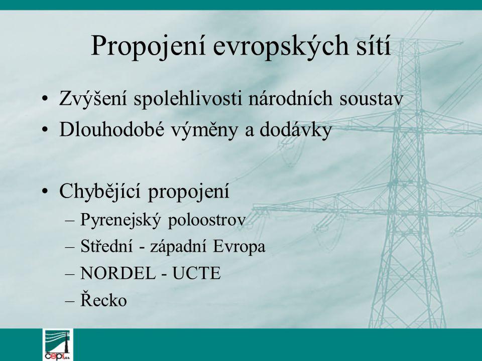 Vliv větrné energetiky Lokalizace do severních oblastí Evropy = transfery na jih (ČR je tranzitní zemí) Náhlé, rychlé a nepredikovatelné změny výkonu (rychlé změny situace v ES) Přednostní přístup k sítím ?.