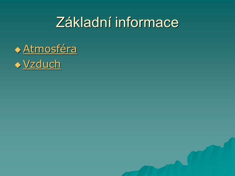 Základní informace  Atmosféra Atmosféra  Vzduch Vzduch