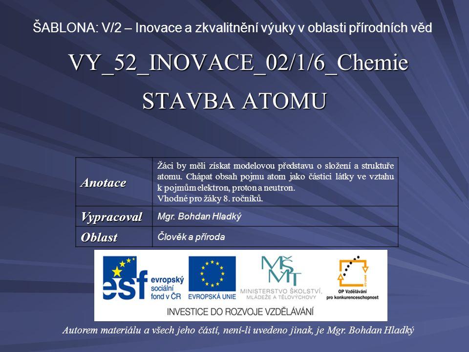 VY_52_INOVACE_02/1/6_Chemie STAVBA ATOMU Autorem materiálu a všech jeho částí, není-li uvedeno jinak, je Mgr.