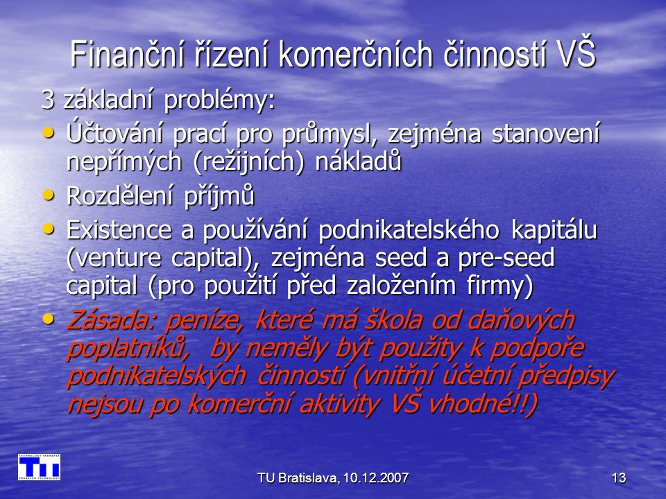 TU Bratislava, 10.12.200713 Finanční řízení komerčních činností VŠ 3 základní problémy: Účtování prací pro průmysl, zejména stanovení nepřímých (režijních) nákladů Účtování prací pro průmysl, zejména stanovení nepřímých (režijních) nákladů Rozdělení příjmů Rozdělení příjmů Existence a používání podnikatelského kapitálu (venture capital), zejména seed a pre-seed capital (pro použití před založením firmy) Existence a používání podnikatelského kapitálu (venture capital), zejména seed a pre-seed capital (pro použití před založením firmy) Zásada: peníze, které má škola od daňových poplatníků, by neměly být použity k podpoře podnikatelských činností (vnitřní účetní předpisy nejsou po komerční aktivity VŠ vhodné!!) Zásada: peníze, které má škola od daňových poplatníků, by neměly být použity k podpoře podnikatelských činností (vnitřní účetní předpisy nejsou po komerční aktivity VŠ vhodné!!)