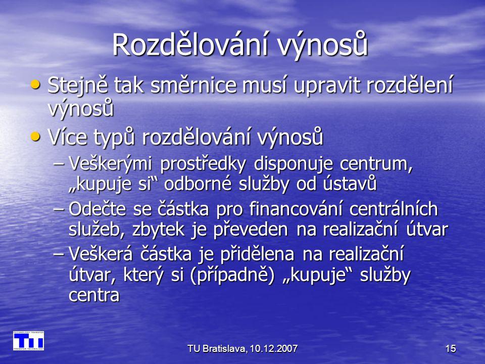 """TU Bratislava, 10.12.200715 Rozdělování výnosů Stejně tak směrnice musí upravit rozdělení výnosů Stejně tak směrnice musí upravit rozdělení výnosů Více typů rozdělování výnosů Více typů rozdělování výnosů –Veškerými prostředky disponuje centrum, """"kupuje si odborné služby od ústavů –Odečte se částka pro financování centrálních služeb, zbytek je převeden na realizační útvar –Veškerá částka je přidělena na realizační útvar, který si (případně) """"kupuje služby centra"""