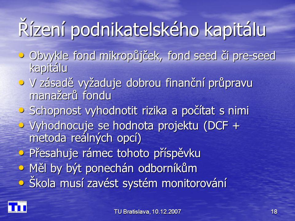 TU Bratislava, 10.12.200718 Řízení podnikatelského kapitálu Obvykle fond mikropůjček, fond seed či pre-seed kapitálu Obvykle fond mikropůjček, fond seed či pre-seed kapitálu V zásadě vyžaduje dobrou finanční průpravu manažerů fondu V zásadě vyžaduje dobrou finanční průpravu manažerů fondu Schopnost vyhodnotit rizika a počítat s nimi Schopnost vyhodnotit rizika a počítat s nimi Vyhodnocuje se hodnota projektu (DCF + metoda reálných opcí) Vyhodnocuje se hodnota projektu (DCF + metoda reálných opcí) Přesahuje rámec tohoto příspěvku Přesahuje rámec tohoto příspěvku Měl by být ponechán odborníkům Měl by být ponechán odborníkům Škola musí zavést systém monitorování Škola musí zavést systém monitorování