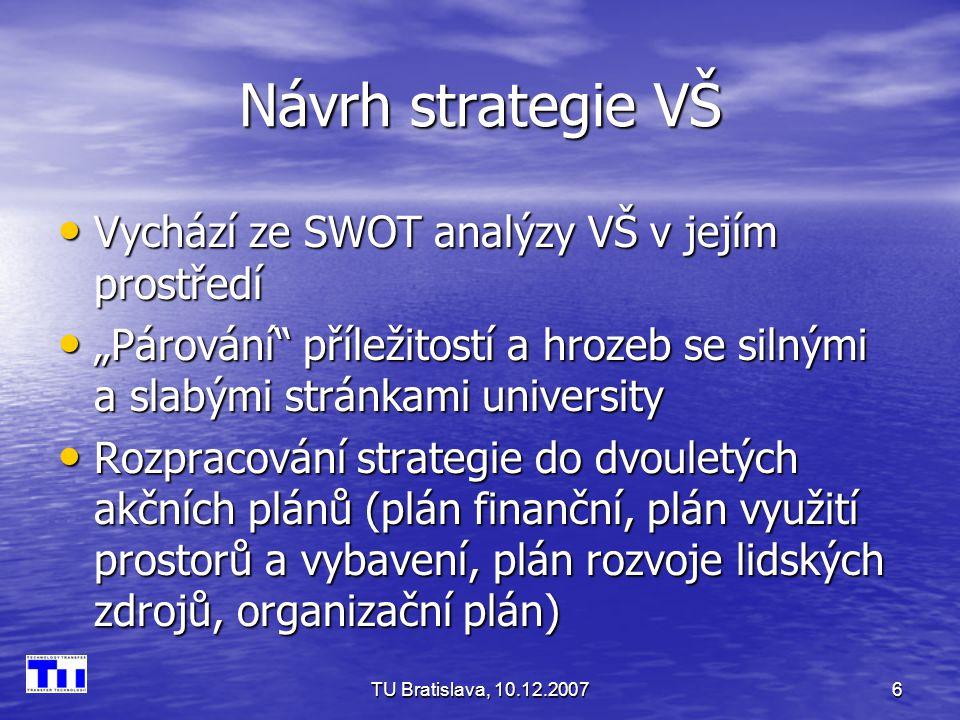 TU Bratislava, 10.12.20077 4 úrovně spolupráce VŠ s průmyslem 1.
