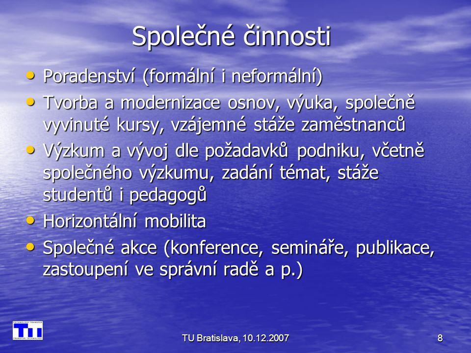 TU Bratislava, 10.12.20078 Společné činnosti Poradenství (formální i neformální) Poradenství (formální i neformální) Tvorba a modernizace osnov, výuka, společně vyvinuté kursy, vzájemné stáže zaměstnanců Tvorba a modernizace osnov, výuka, společně vyvinuté kursy, vzájemné stáže zaměstnanců Výzkum a vývoj dle požadavků podniku, včetně společného výzkumu, zadání témat, stáže studentů i pedagogů Výzkum a vývoj dle požadavků podniku, včetně společného výzkumu, zadání témat, stáže studentů i pedagogů Horizontální mobilita Horizontální mobilita Společné akce (konference, semináře, publikace, zastoupení ve správní radě a p.) Společné akce (konference, semináře, publikace, zastoupení ve správní radě a p.)