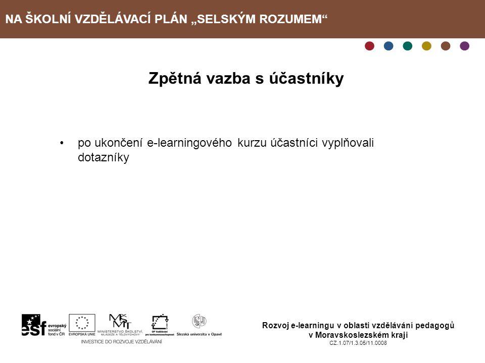 """NA ŠKOLNÍ VZDĚLÁVACÍ PLÁN """"SELSKÝM ROZUMEM"""" Rozvoj e-learningu v oblasti vzdělávání pedagogů v Moravskoslezském kraji CZ.1.07/1.3.05/11.0008 Zpětná va"""