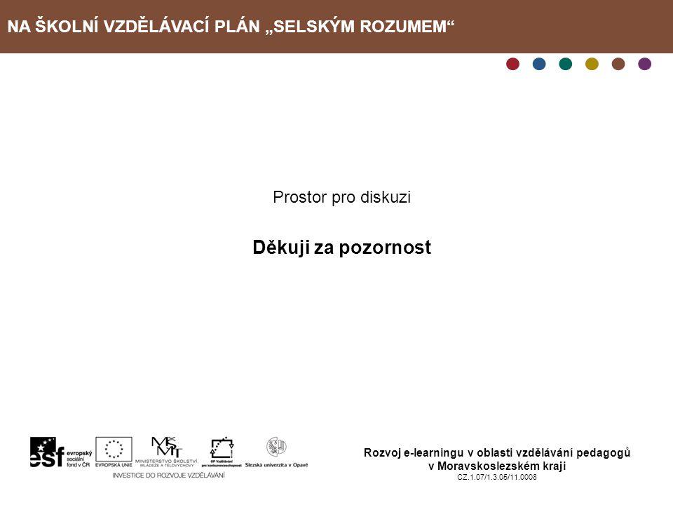 """NA ŠKOLNÍ VZDĚLÁVACÍ PLÁN """"SELSKÝM ROZUMEM"""" Rozvoj e-learningu v oblasti vzdělávání pedagogů v Moravskoslezském kraji CZ.1.07/1.3.05/11.0008 Prostor p"""