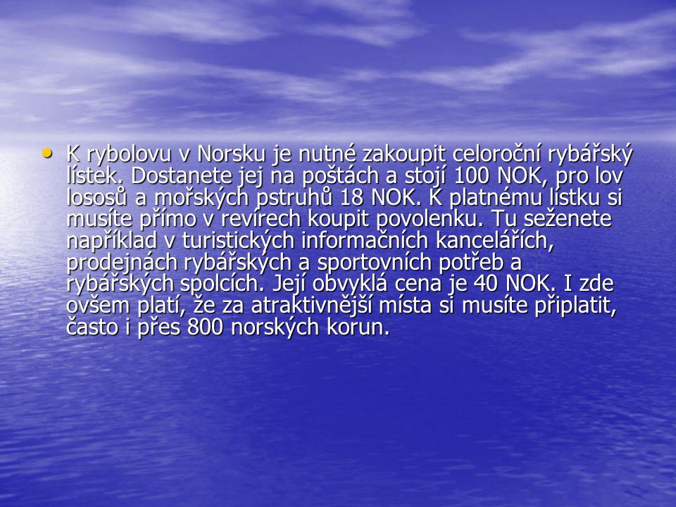 K rybolovu v Norsku je nutné zakoupit celoroční rybářský lístek. Dostanete jej na poštách a stojí 100 NOK, pro lov lososů a mořských pstruhů 18 NOK. K