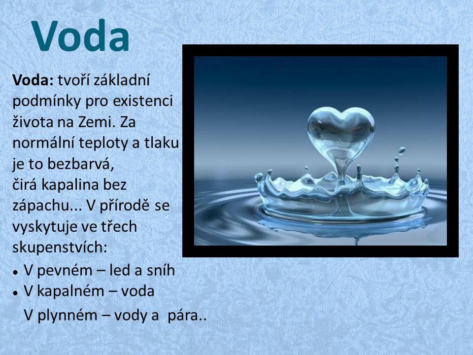 Klepnutím na ikonu přidáte obrázek. Voda Voda: tvoří základní podmínky pro existenci života na Zemi. Za normální teploty a tlaku je to bezbarvá, čirá