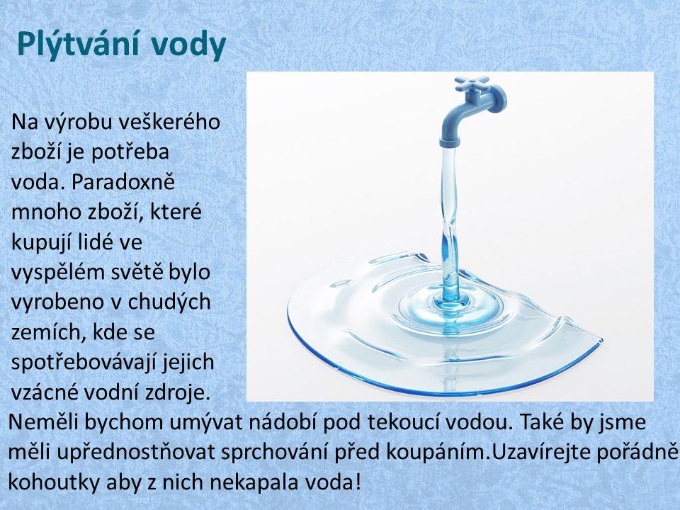 Klepnutím na ikonu přidáte obrázek. Plýtvání vody Na výrobu veškerého zboží je potřeba voda. Paradoxně mnoho zboží, které kupují lidé ve vyspělém svět