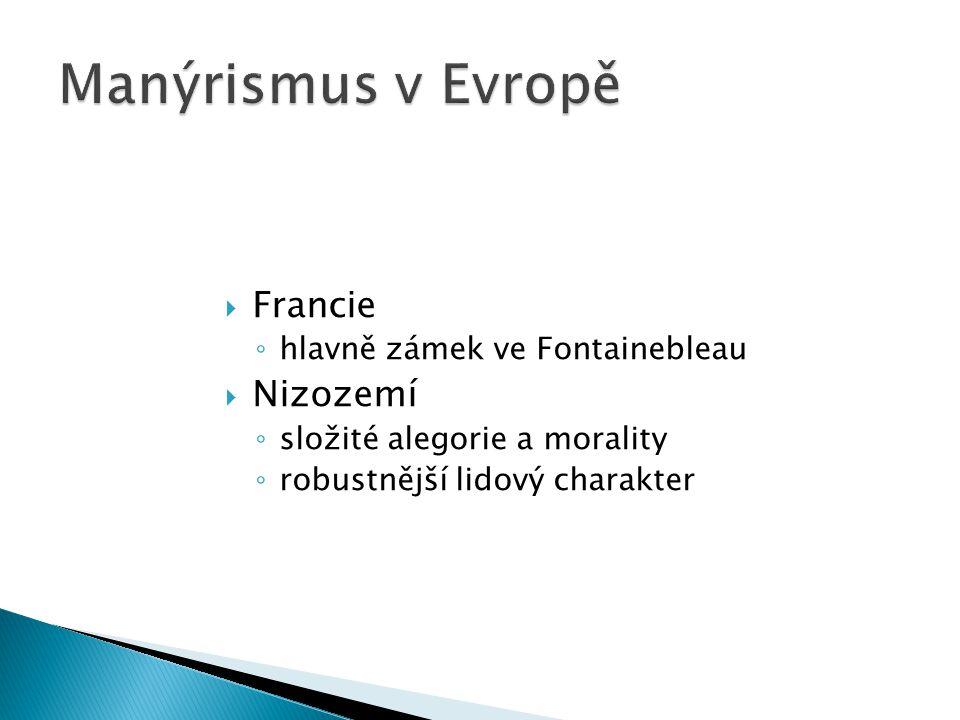  Francie ◦ hlavně zámek ve Fontainebleau  Nizozemí ◦ složité alegorie a morality ◦ robustnější lidový charakter