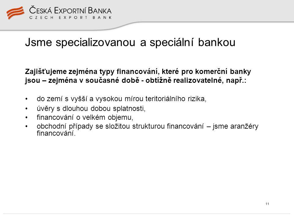 11 Jsme specializovanou a speciální bankou do zemí s vyšší a vysokou mírou teritoriálního rizika, úvěry s dlouhou dobou splatnosti, financování o velkém objemu, obchodní případy se složitou strukturou financování – jsme aranžéry financování.