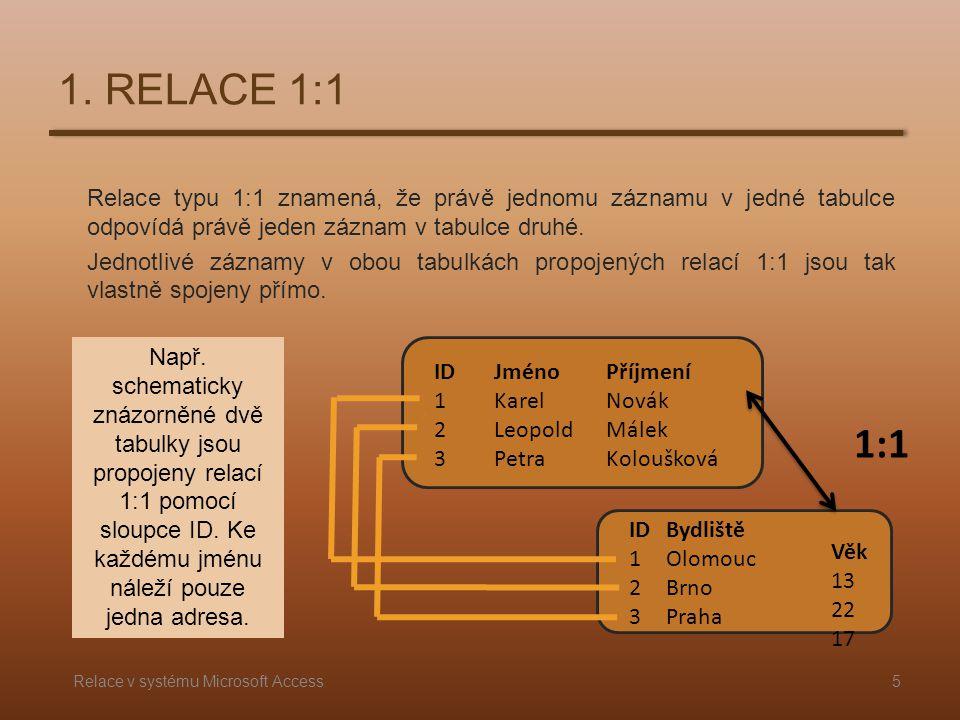 Relace typu 1:1 znamená, že právě jednomu záznamu v jedné tabulce odpovídá právě jeden záznam v tabulce druhé. Jednotlivé záznamy v obou tabulkách pro
