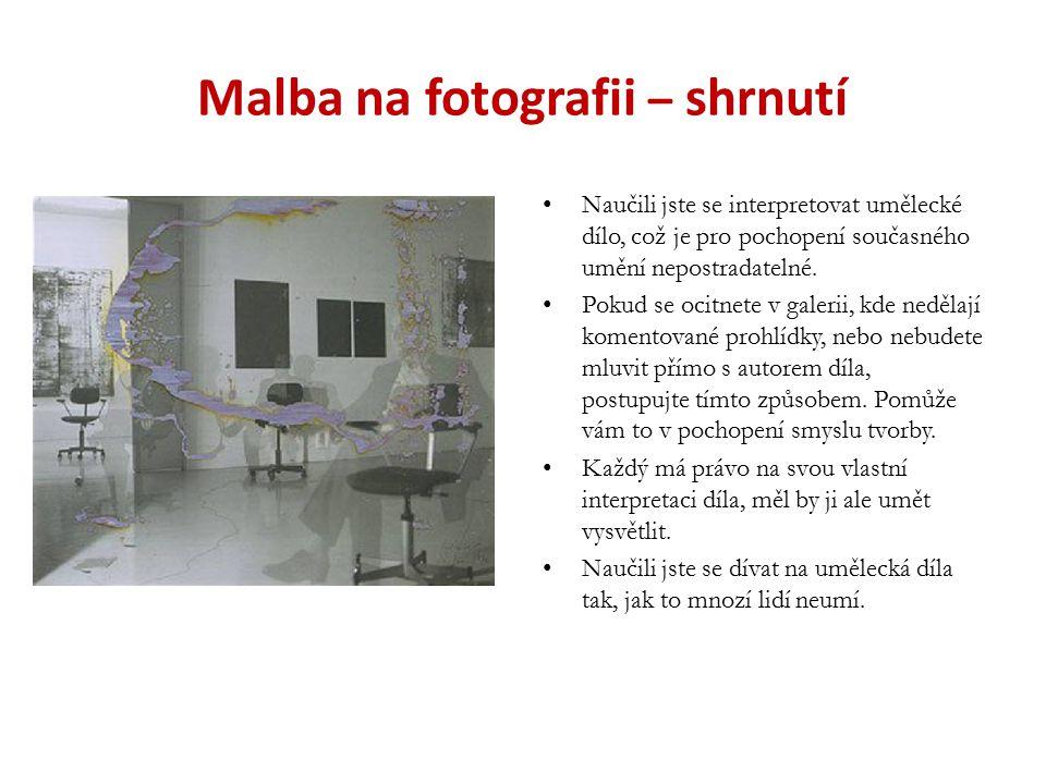 Malba na fotografii – shrnutí Naučili jste se interpretovat umělecké dílo, což je pro pochopení současného umění nepostradatelné. Pokud se ocitnete v
