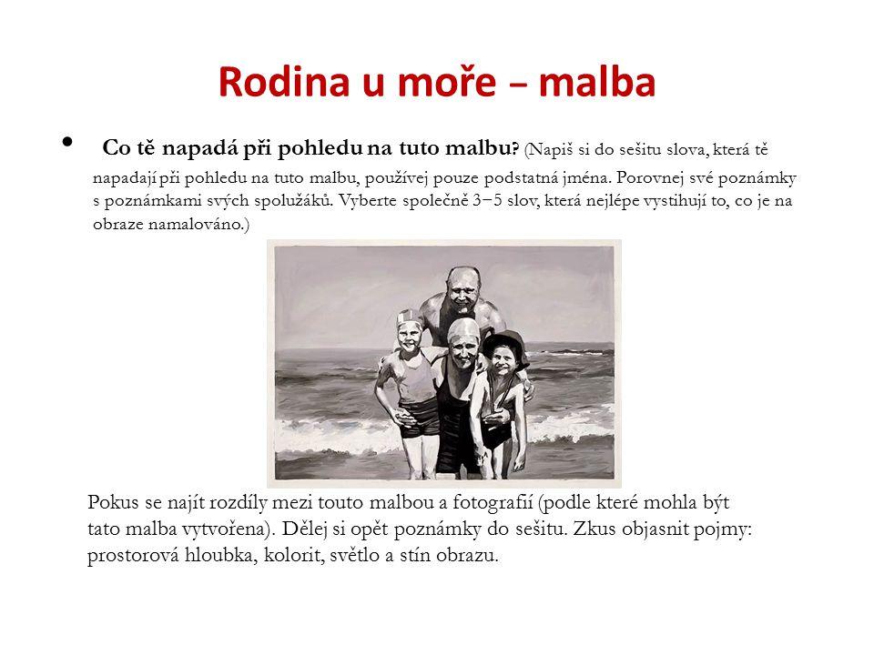 Rodina u moře − shrnutí Na obraze je namalovaná rodina, pohoda, dovolená, táta – hlava rodiny, léto.