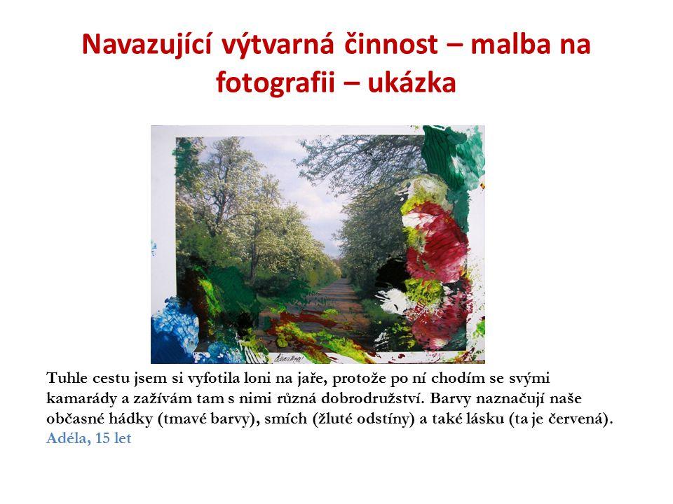 Navazující výtvarná činnost – malba na fotografii – ukázka Tuhle cestu jsem si vyfotila loni na jaře, protože po ní chodím se svými kamarády a zažívám