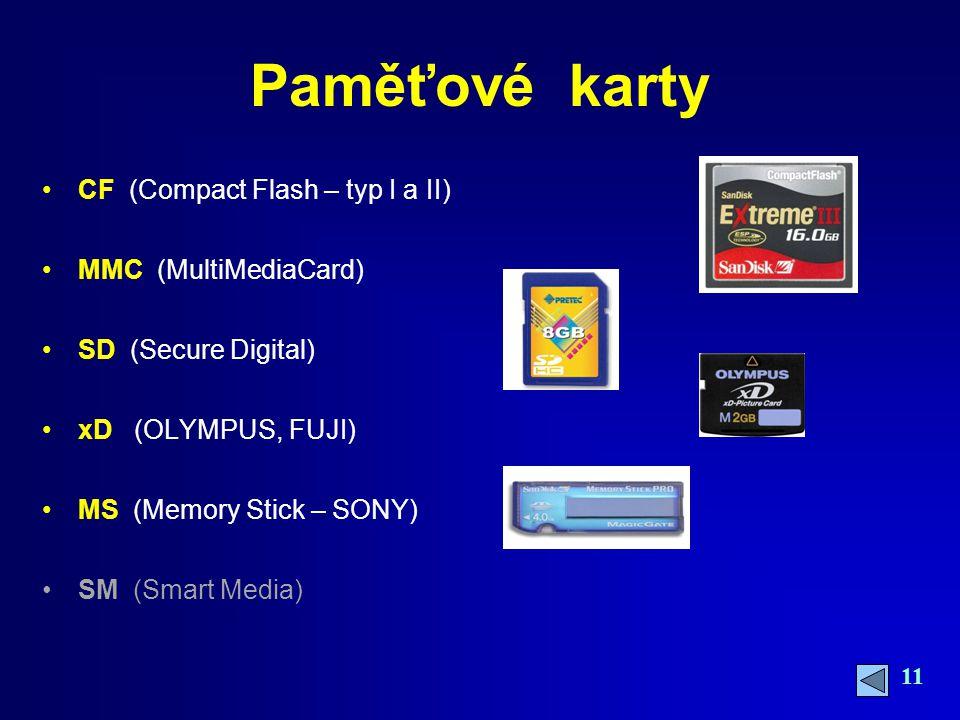 11 Paměťové karty CF (Compact Flash – typ I a II) MMC (MultiMediaCard) SD (Secure Digital) xD (OLYMPUS, FUJI) MS (Memory Stick – SONY) SM (Smart Media)