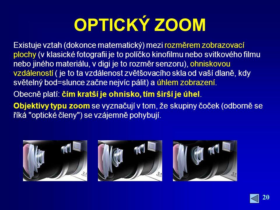20 OPTICKÝ ZOOM Existuje vztah (dokonce matematický) mezi rozměrem zobrazovací plochy (v klasické fotografii je to políčko kinofilmu nebo svitkového filmu nebo jiného materiálu, v digi je to rozměr senzoru), ohniskovou vzdáleností ( je to ta vzdálenost zvětšovacího skla od vaší dlaně, kdy světelný bod=slunce začne nejvíc pálit) a úhlem zobrazení.