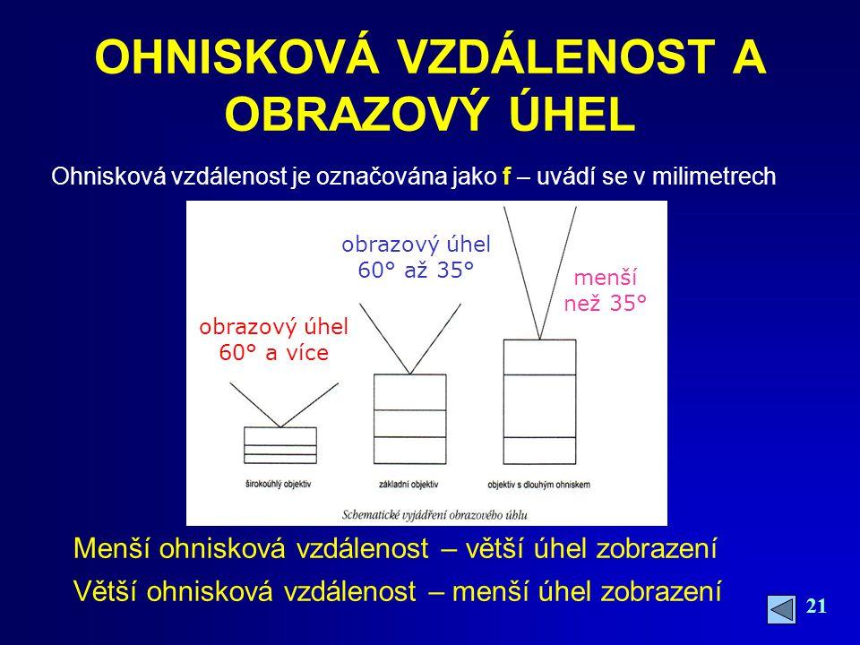 21 OHNISKOVÁ VZDÁLENOST A OBRAZOVÝ ÚHEL Ohnisková vzdálenost je označována jako f – uvádí se v milimetrech obrazový úhel 60° a více obrazový úhel 60° až 35° menší než 35° Menší ohnisková vzdálenost – větší úhel zobrazení Větší ohnisková vzdálenost – menší úhel zobrazení