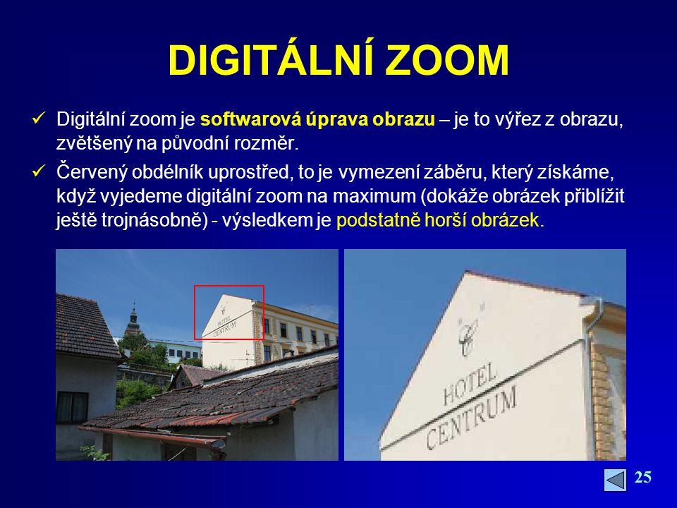 25 DIGITÁLNÍ ZOOM Digitální zoom je softwarová úprava obrazu – je to výřez z obrazu, zvětšený na původní rozměr.