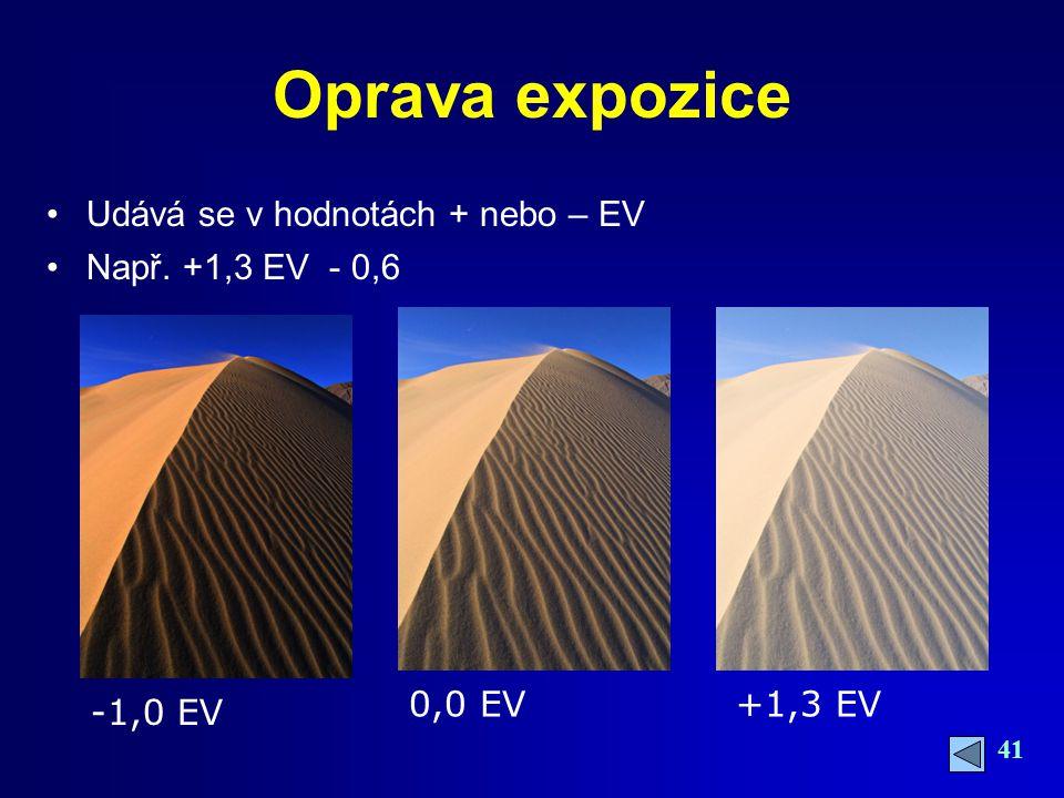 41 Oprava expozice Udává se v hodnotách + nebo – EV Např. +1,3 EV - 0,6 -1,0 EV 0,0 EV+1,3 EV