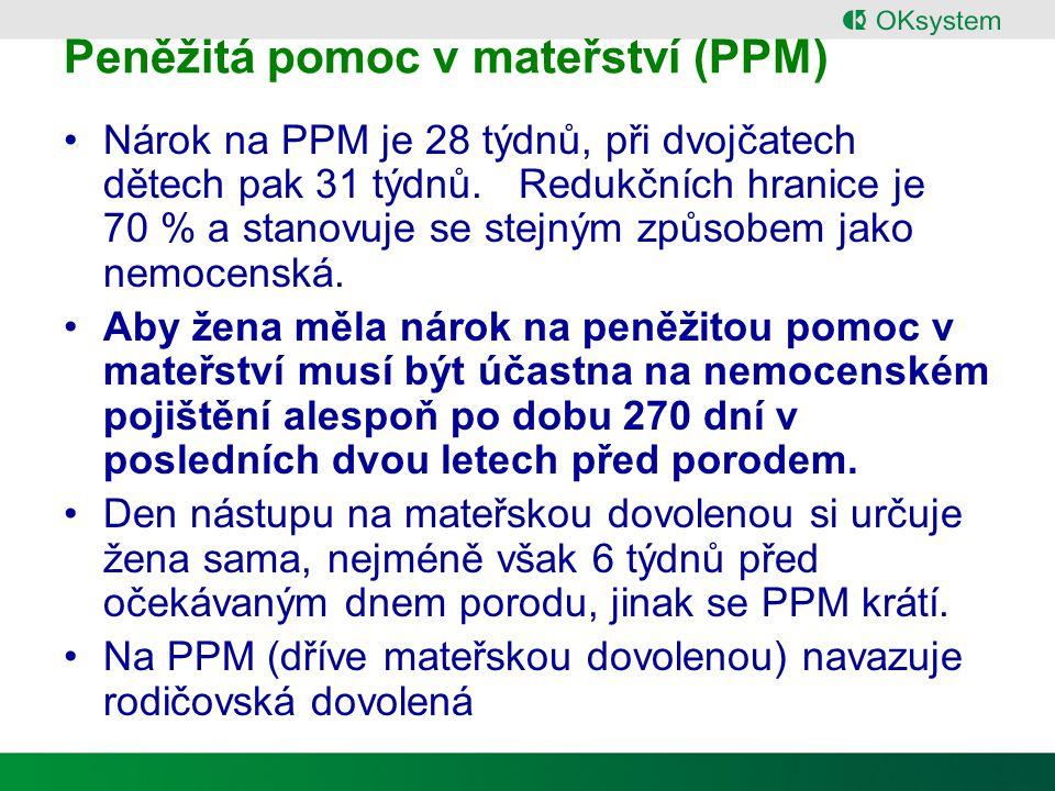 Peněžitá pomoc v mateřství (PPM) Nárok na PPM je 28 týdnů, při dvojčatech dětech pak 31 týdnů.