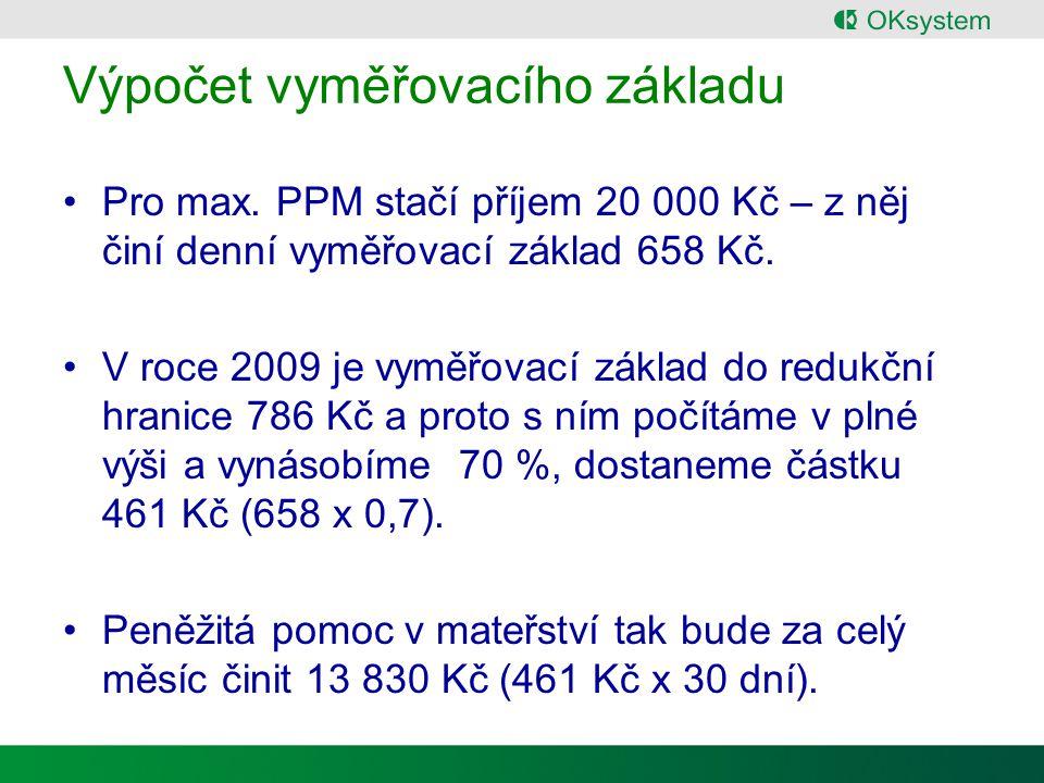Výpočet vyměřovacího základu Pro max.