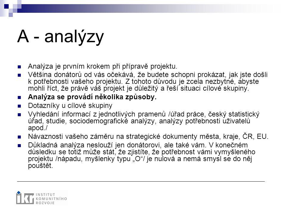 A - analýzy Analýza je prvním krokem při přípravě projektu. Většina donátorů od vás očekává, že budete schopni prokázat, jak jste došli k potřebnosti