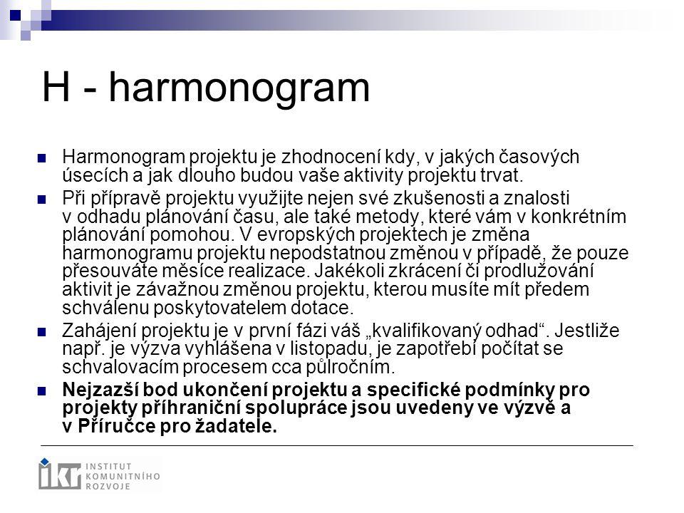 H - harmonogram Harmonogram projektu je zhodnocení kdy, v jakých časových úsecích a jak dlouho budou vaše aktivity projektu trvat. Při přípravě projek