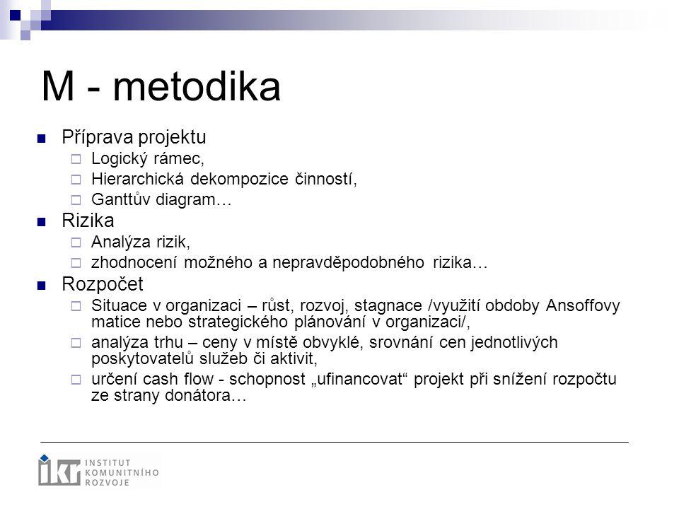 M - metodika Příprava projektu  Logický rámec,  Hierarchická dekompozice činností,  Ganttův diagram… Rizika  Analýza rizik,  zhodnocení možného a
