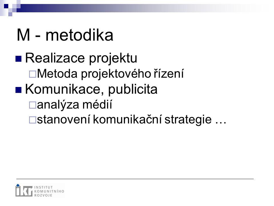 M - metodika Realizace projektu  Metoda projektového řízení Komunikace, publicita  analýza médií  stanovení komunikační strategie …